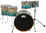 DW Collectors Shellset Exotic Natural to Regal Blue Fade over Quilted Maple 22/10/12/14/16 /w Chrome Hardware